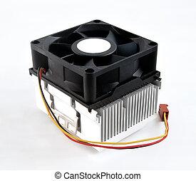 Processor heatsink cooler fan on white background