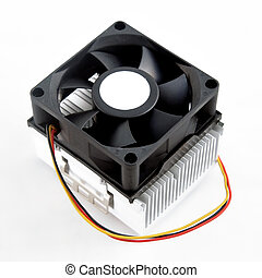 Processor heatsink cooler fan on white background