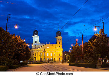Debrecen landmarks - Reformed Great Church in Debrecen city...