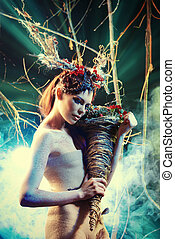 enigma woman - Art project Beautiful girl in the image of a...