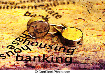 Housing and banking grunge concept