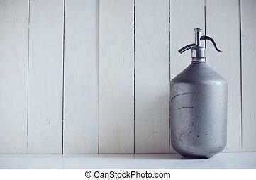 siphon - An old vintage aluminum siphon, antique seltzer...