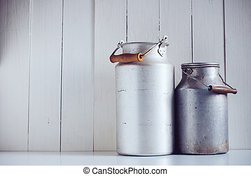 vintage aluminum milk cans - Two old vintage aluminum milk...