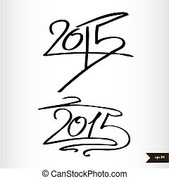 Happy New Year Handwritten calligraphic watercolor 2015 -...