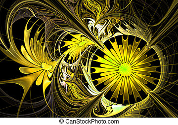Flower background. Yellow and black palette. Fractal design....