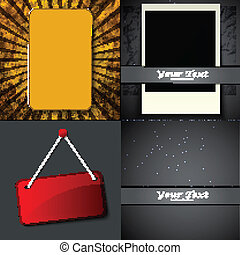 Set of Vintage retro frame hanging on a wall with space for your text. Vector