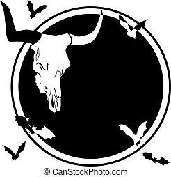 bull skull and bats - vector Halloween frame with bull skull...