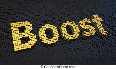 Boost cubics - Word Boost of the yellow square pixels on a...