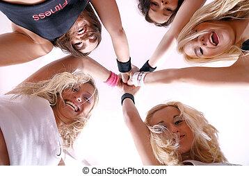 teamwork spirit - healthy and happy girls team