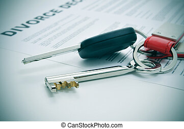 divorce - a divorce decree document and the keys of a car...