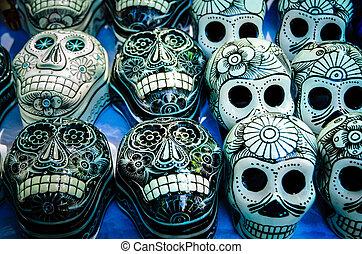 Day of the dead souvenir skulls, Dia de Muertos -...
