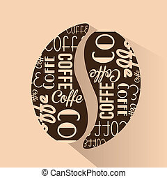 coffee - an isolated coffee bean with a lot of text