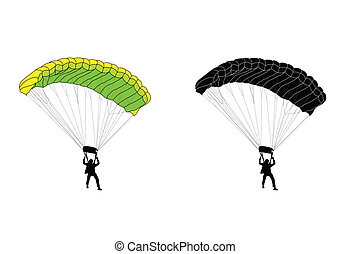 skydiver silhouette and illustration - vector