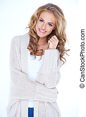 Smiling Blond Woman Wearing Sweater Cardigan - Portrait of...