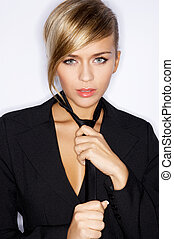 Woman Wearing Black Suit Jacket and Tie - Sexy Blond Woman...