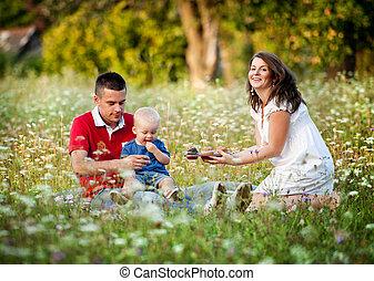 Family having picnic in nature