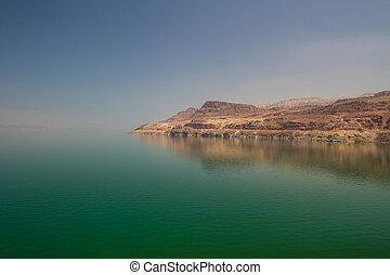 The Dead Sea - The green water of the land-locked Dead Sea...