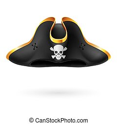 Pirate cocked hat - Black cocked hat with pirate symbol of...