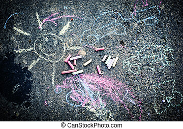 Chalk drawing of sun - Childs drawing of sun and colorful...