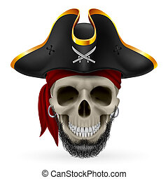 Pirate Skull - Bearded pirate skull in red bandana and...