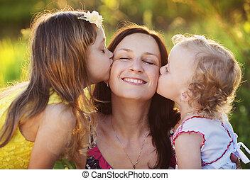 glücklich, wenig, Mutter, Töchter, Natur