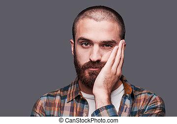 esto, aburrido, aburrido, joven, barbudo, hombre, Mantener,...
