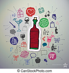 Hand drawn holiday icons set and sticker with bottle of wine
