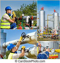 Oil industry collage - Collage of oil industry worker on...