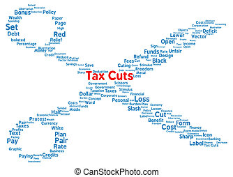 Tax Cuts word cloud shape concept