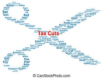Tax Cuts word cloud shape