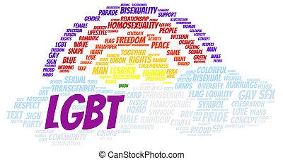 LGBT word cloud shape concept
