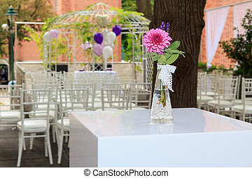 Purple dahlia at a wedding reception - Purple dahlia in a...