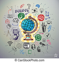 Hand drawn education icons set and sticker with earth globe