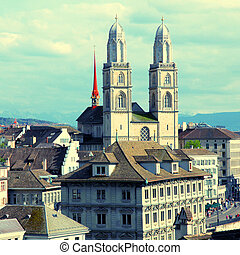 Zurich Grossmunster, Switzerland - Zurich cityscape with old...