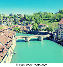 Bern and Aare river, Switzerland - Cityscape of Bern,...