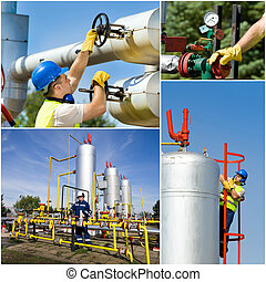 Oil and gas industry - Collage of oil and gas industry...
