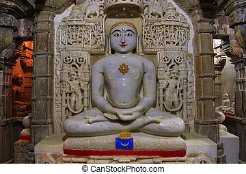 Interior of Jain temple, Jaisalmer, India - Interior of Jain...
