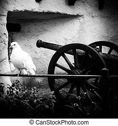 Peace Dove - White dove forward a Muzzleloader