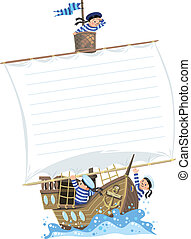 Banner with ship and happy sailors - Template background...
