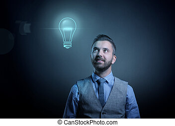 Hipster businessman with idea