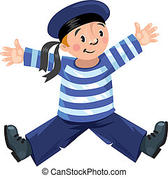 Happy sailor - Happy jolly boy-sailor in vest and sailor hat