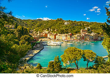 Portofino luxury village landmark, panoramic aerial view...