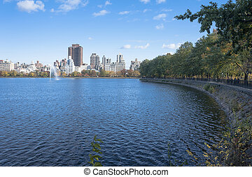 Late autumn afternoon at the reservoir in Central Park
