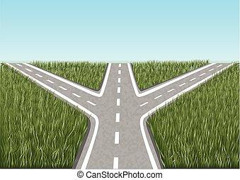 crossroads. way throug grass and a blue sky