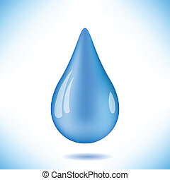 blue water drop - colorful illustration with blue water drop...