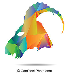 polygonal silhouette of goat