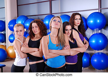 girls team in a fitness center - girls team in fitness...
