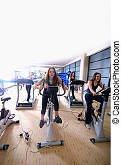 Women working out on spinning bikes at the gym - group of...