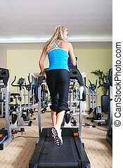 inifinity health and condition concept with running woman -...