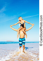 Couple at the Beach - Attractive Good Looking Couple On...